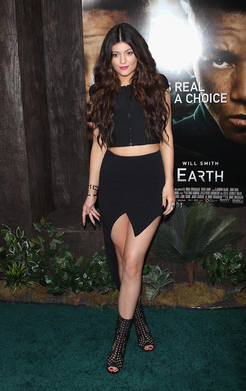 Kylie Jenner opted for a sleek black two-piece look to attend the premiere of After Earth (the movie fronted by rumored boyfriend Jaden Smith) in New York, May 2013.