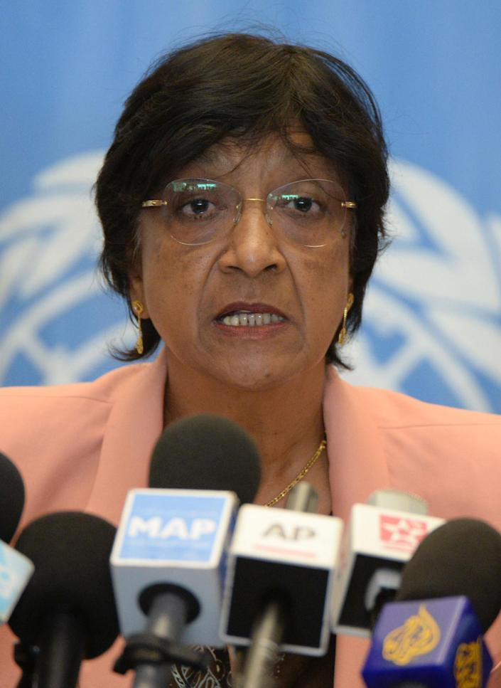 United Nations High Commissioner for Human Rights Navi Pillay gives a press conference in Rabat on May 29, 2014 (AFP Photo/Fadel Senna)