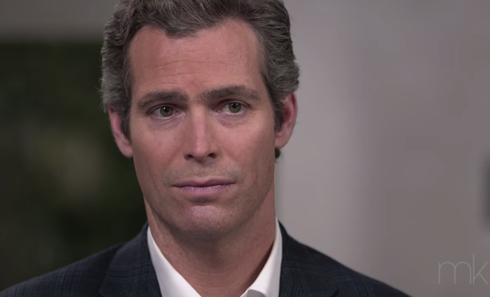 Megyn Kelly's husband, Douglas Brunt, was emotional hearing her discuss being sexually harassed. (Screenshot: Megyn Kelly via YouTube)