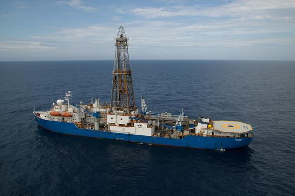 The ship-based drilling platform off the Washington coast, where scientists extracted seafloor mud and rocks.