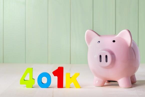 401k in colorful letters next to a piggy bank.