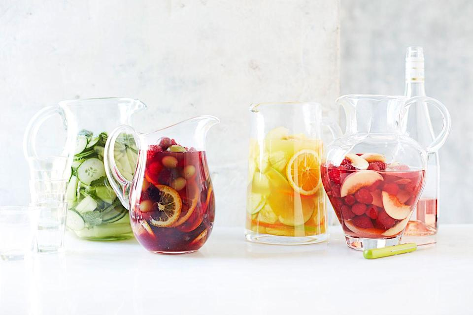 """<p>What makes wine and fruit such a winning combo? Take a sip from these sangria pitchers and you'll have your answer.</p><p><em><a href=""""https://www.goodhousekeeping.com/food-recipes/a44204/citrusy-white-sangria-margarita-recipe/"""" rel=""""nofollow noopener"""" target=""""_blank"""" data-ylk=""""slk:Get the recipe for Sangria »"""" class=""""link rapid-noclick-resp"""">Get the recipe for Sangria »</a></em> </p>"""