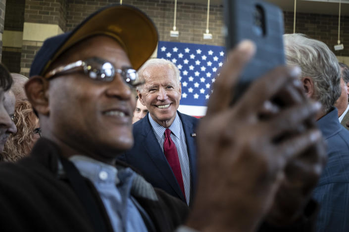Former Vice President Joe Biden greets supporters at The River Center in Davenport, Iowa Oct. 16, 2019. (Jordan Gale/The New York Times)
