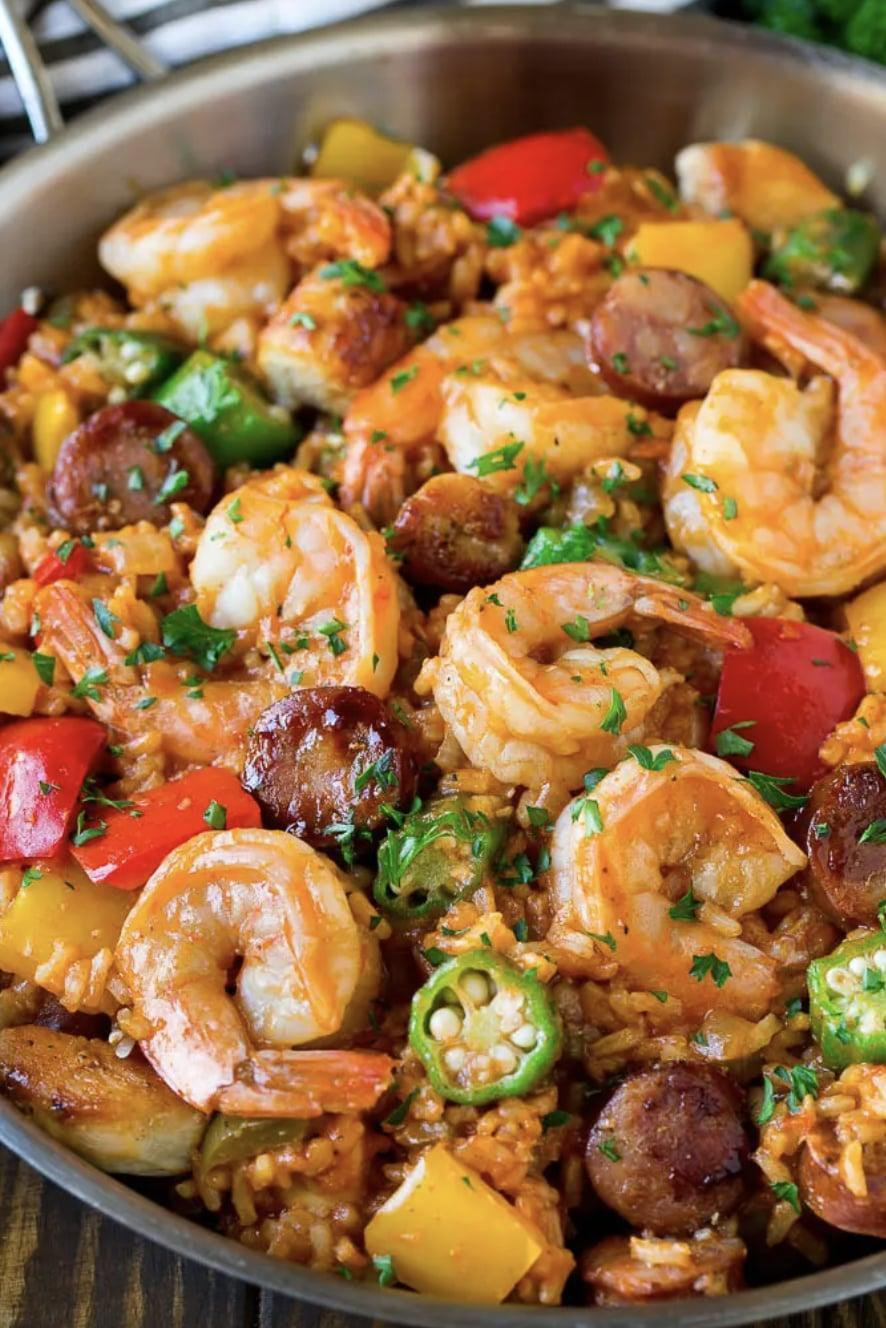 """<p>You'll get forkfuls of zesty chicken, shrimp, sausage, rice, and vegetables when you dive into this one-pot recipe. With a sauce that's too good to be true, we reccommend making an extra batch of jambalaya so you can fully indulge.</p> <p><strong>Get the recipe</strong>: <a href=""""https://www.dinneratthezoo.com/jambalaya-recipe/?utm_source=feedburner&amp;utm_medium=feed&amp;utm_campaign=Feed%3A+dinneratthezoo+%28Dinner+at+the+Zoo%29"""" class=""""link rapid-noclick-resp"""" rel=""""nofollow noopener"""" target=""""_blank"""" data-ylk=""""slk:jambalaya"""">jambalaya</a></p>"""