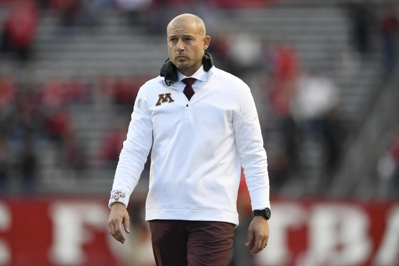 Minnesota head coach P. J. Fleck looks on during the second half of an NCAA college football game against Rutgers Saturday, Oct. 19, 2019, in Piscataway, N.J. (AP Photo/Sarah Stier)