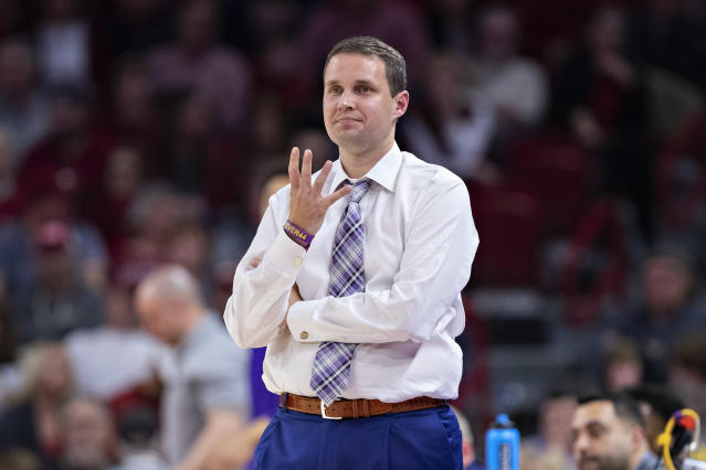 LSU coach Will Wade signals to his team during a game against Arkansas on March 4, 2020. (Wesley Hitt/Getty Images)