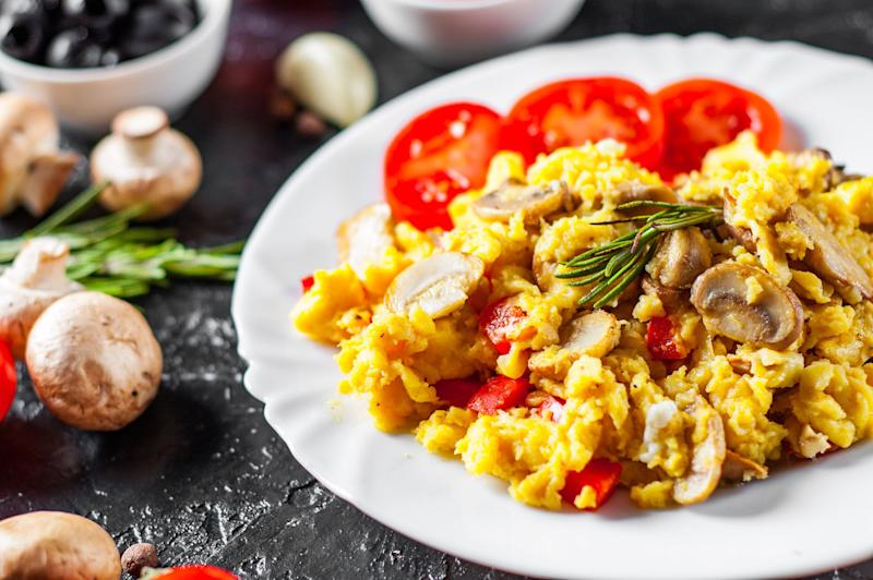Scrambled eggs are one of the easiest proteins to make in a frying pan. To upgrade this recipe with just a little more effort, you can nuke your favourite vegetables in the microwave (wrapped in a wet paper towel). Adding them to the pan right after cuts down on frying time while getting your veggies browned nicely.