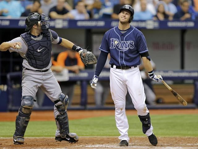 Tampa Bay Rays' Evan Longoria reacts after he is called out on strikes on a pitch from Detroit Tigers' David Price during the fourth inning of a baseball game Thursday, Aug. 21, 2014, in St. Petersburg, Fla. Catching for Detroit is Alex Avila. (AP Photo/Chris O'Meara)