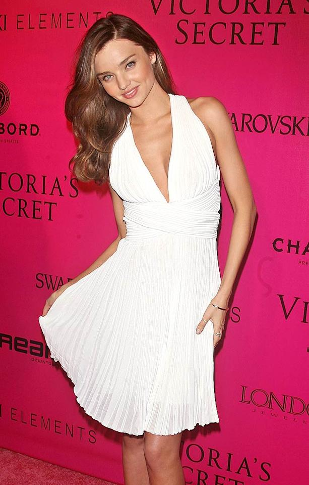 Model Miranda Kerr channeled her inner Marilyn Monroe at the after party of the 2011 Victoria's Secret Fashion Show at New York's Dream Downtown Wednesday night. Miranda had the honor of donning the lingerie designer's $2.5 million bejeweled bra on the catwalk earlier that evening. Sure enough, her hunky husband, Orlando Bloom, was in the audience cheering her on. (11/9/2011)