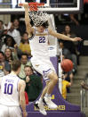 Lipscomb forward Eli Pepper (22) dunks against Liberty in the first half of the Atlantic Sun NCAA college basketball tournament championship game Sunday, March 10, 2019, in Nashville, Tenn. (AP Photo/Mark Humphrey)