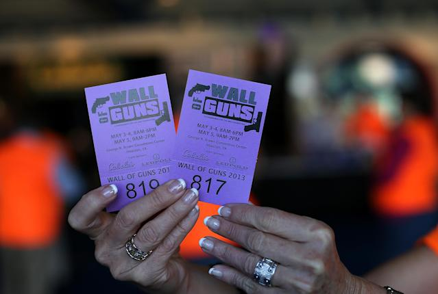 Tickets to an earlier gun event in Houston, Texas. (Photo: Getty Images)
