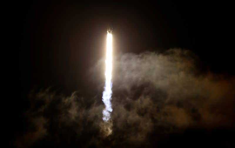 A SpaceX Falcon 9 rocket with the Crew Dragon capsule is launched at the Kennedy Space Center in Cape Canaveral