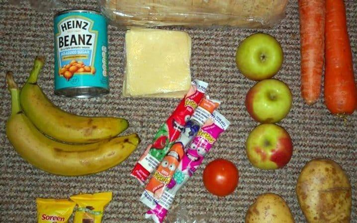 Part of a food parcel delivered to school children in England - Twitter / @roadside mum