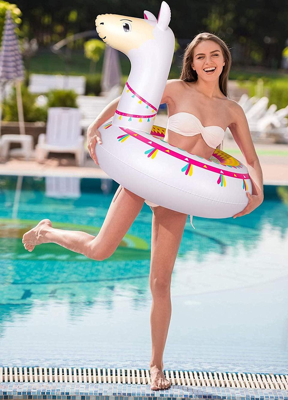<p>Every dip in the pool becomes a party with this <span>Jollylife Llama Pool Float</span> ($17).</p>