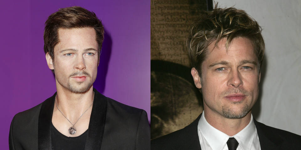 <p>Brad Pitt has made some questionable facial hair choices in his day, but never has he looked as much like a freelance magician as this wax figure does. Don't stare at him too long or he'll ask you to let him cut you in half.</p>