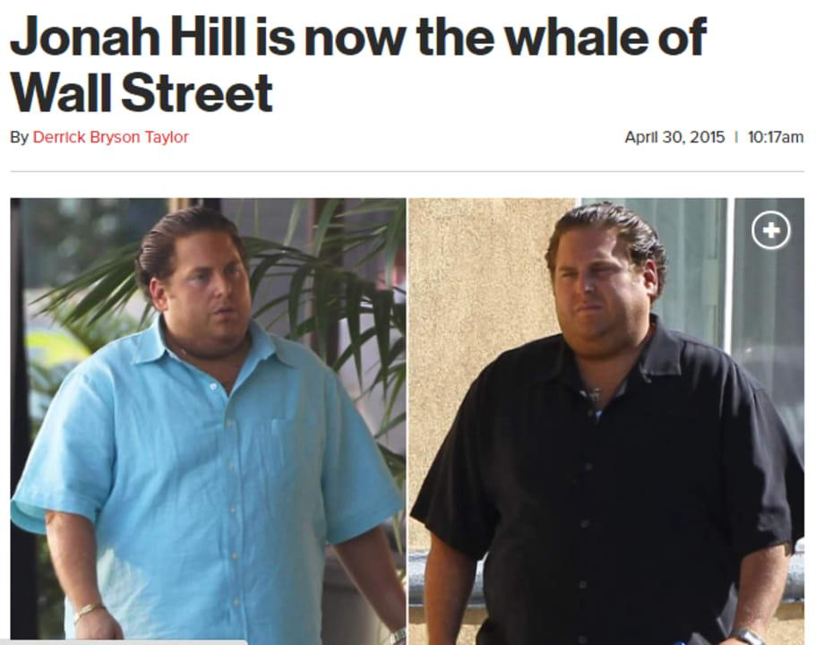 "Page Six called Jonah Hill the ""Whale of Wall Street"" when his weight gain caused headlines."