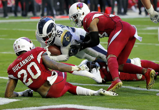 """<a class=""""link rapid-noclick-resp"""" href=""""https://sports.yahoo.com/nfl/teams/lar"""" data-ylk=""""slk:Los Angeles Rams"""">Los Angeles Rams</a> <span>running back</span> <a class=""""link rapid-noclick-resp"""" href=""""https://sports.yahoo.com/nfl/players/26878/"""" data-ylk=""""slk:C.J. Anderson"""">C.J. Anderson</a> <span>offered up a memorable performance that will force questions about the replacability of the position. (AP Photo/Rick Scuteri)</span>"""
