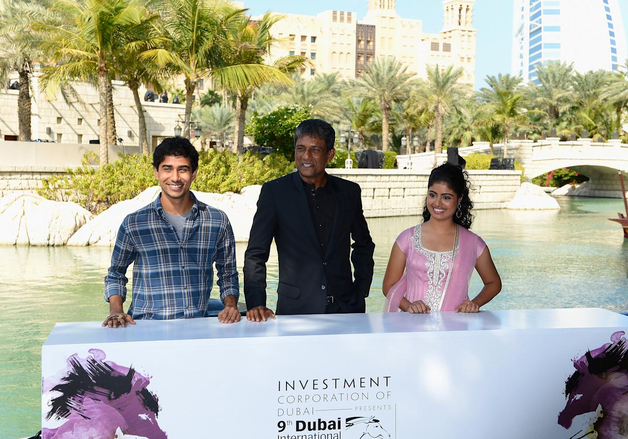 """DUBAI, UNITED ARAB EMIRATES - DECEMBER 09:  Actors Suraj Sharma, Adil Hussain and Shravanthi Sainath attend the """"Life of PI"""" photocall during day one of the 9th Annual Dubai International Film Festival held at the Madinat Jumeriah Complex on December 9, 2012 in Dubai, United Arab Emirates.  (Photo by Gareth Cattermole/Getty Images for DIFF)"""