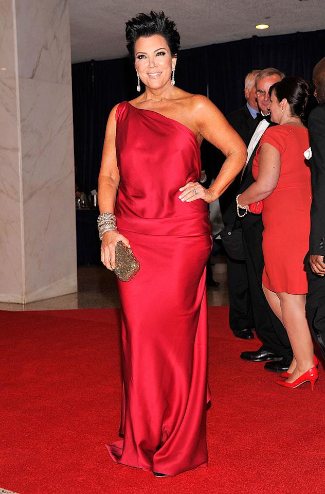 Lady-in-red Kris Jenner accompanied her daughter to the dinner. What do you think of her new 'do?