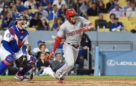May 10, 2018; Los Angeles, CA, USA; Cincinnati Reds center fielder Billy Hamilton (6) hits an RBI triple against the Los Angeles Dodgers in the seventh inning at Dodger Stadium. Mandatory Credit: Richard Mackson-USA TODAY Sports