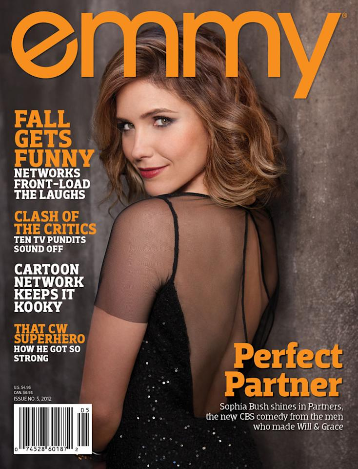 "Sophia Bush, star of the new CBS comedy ""Partners,"" radiates Old Hollywood glam on the cover of Emmy magazine's latest issue, on newsstands now. Click through this slideshow to see all of Sophia's photos inside the magazine and what she had to share."