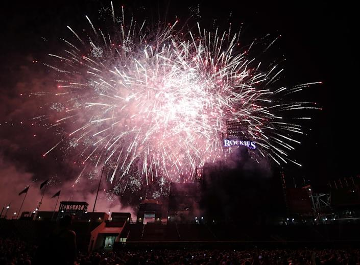 """Extravagant fireworks shows probably would not have happened as in years past, but MLB might have been able to make something special out of July 4 in 2020. <span class=""""copyright"""">(David Zalubowski / Associated Press)</span>"""
