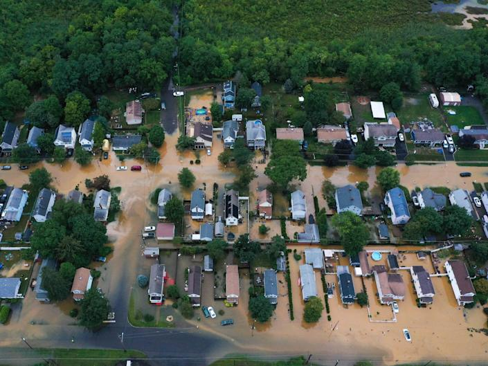 An aerial view of flooded streets are seen in Helmetta of New Jersey, United States on August 22, 2021 as Tropical Storm Henri hit east coast.