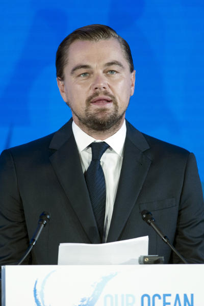 "File-Actor and activist Leonardo DiCaprio speaks at the Our Ocean, One Future conference at the State Department in Washington, Thursday, Sept. 15, 2016. DiCaprio, Stevie Wonder, Michael Douglas and other stars pleaded for peace and the survival of the planet Friday, Sept. 16, 2016, which Secretary-General Ban Ki-moon said is ""closer to conflict than we may like to think."" (AP Photo/Cliff Owen, File)"