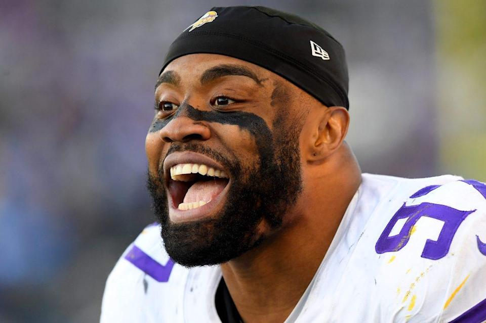 """Minnesota Vikings defensive end Everson Griffen. He resigned with Minnesota and is now going to apologize to Kirk Cousins after calling the quarterback """"ass"""" on Twitter."""