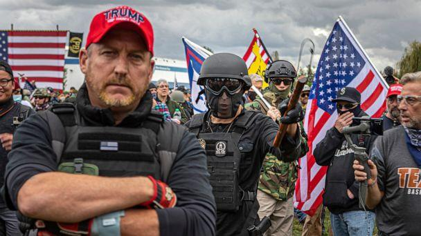 PHOTO: On September 26, 2020, a state of emergency was declared in Portland, Oregon as The Proud Boys and other far-right extremist groups rallied in defiance of being denied a permit. (Michael Nigro/Sipa USA via AP, FILE)