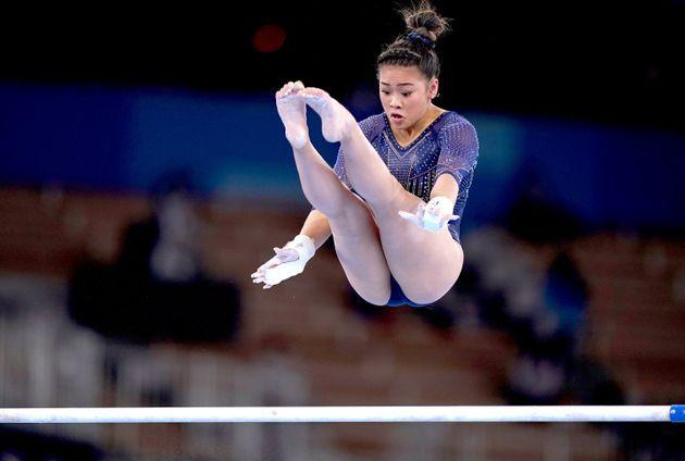Sunisa Lee scored a 14.500, well below what she often gets on the uneven bars. (Photo: Mike Egerton - PA Images via Getty Images)