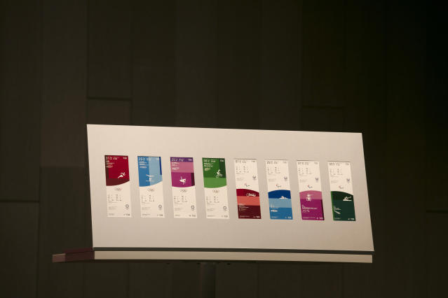 Tickets for the Tokyo 2020 Olympics and Paralympics are on display Wednesday, Jan. 15, 2020, in Tokyo. (AP Photo/Jae C. Hong)