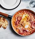 """Chickpeas in a spicy tomato-cream bath are what you need to satisfy your brunch cravings. <a href=""""https://www.bonappetit.com/recipe/spicy-creamy-chickpeas-with-runny-eggs-and-prosciutto?mbid=synd_yahoo_rss"""" rel=""""nofollow noopener"""" target=""""_blank"""" data-ylk=""""slk:See recipe."""" class=""""link rapid-noclick-resp"""">See recipe.</a>"""