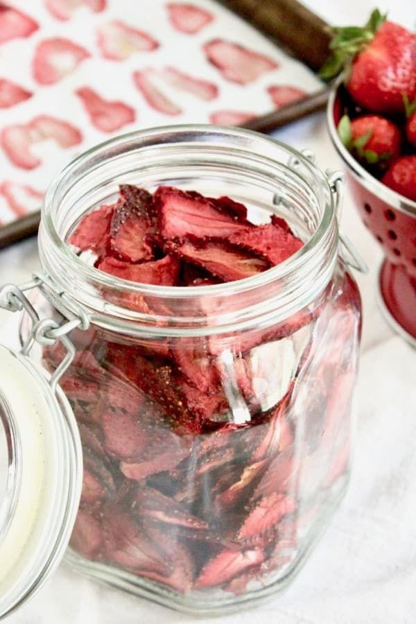 "<p>Intensify that delicious strawberry flavour by popping those beauties in the oven! This'll be the kind of snack you'll be dreaming about all day before scoffing them down. </p><p>Get the <a href=""https://feedthemwisely.com/oven-dried-strawberries"" rel=""nofollow noopener"" target=""_blank"" data-ylk=""slk:Oven Dried Strawberries"" class=""link rapid-noclick-resp"">Oven Dried Strawberries</a> recipe. </p><p>Recipe from <a href=""https://feedthemwisely.com/"" rel=""nofollow noopener"" target=""_blank"" data-ylk=""slk:Feed Them Wisely"" class=""link rapid-noclick-resp"">Feed Them Wisely</a>. </p>"