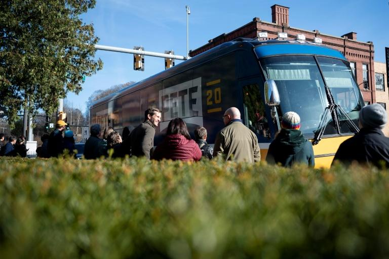 South Bend, Indiana Mayor Pete Buttigieg, a 2020 Democratic presidential hopeful, launched a four-day bus tour through New Hampshire that landed him in Franklin on November 9, 2019 (AFP Photo/JIM WATSON)