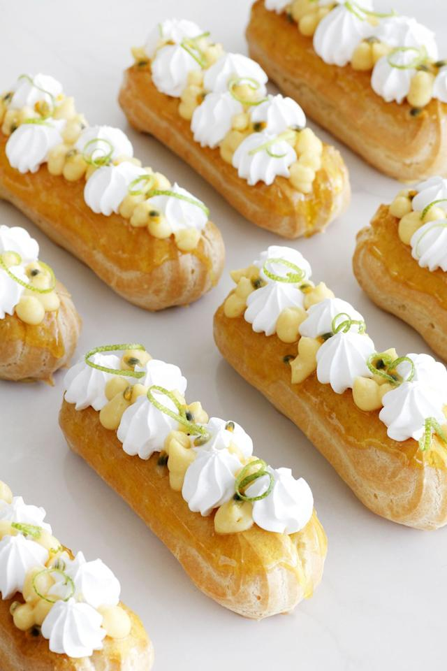 "<p>We know you'll feel <em>passionate</em><em>ly</em> about these adorable eclairs, especially since they're filled with a tasty passion fruit custard cream and topped with dollops of meringue.</p><p><strong>Get the recipe at <a href=""https://www.lilcookie.com/passionfruit-eclairs/"" target=""_blank"">Lil' Cookie</a>. </strong></p><p><strong><a class=""body-btn-link"" href=""https://www.amazon.com/Pastry-Pack-16-Inch-Cupcake-Decorating-Bags-Disposable/dp/B01HQ9T4H2/"" target=""_blank"">SHOP PIPING BAGS</a><br></strong></p>"