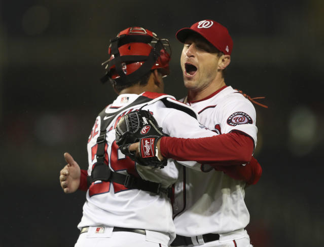 Max Scherzer surprised people on the bases during his complete game shutout. (AP Photo)