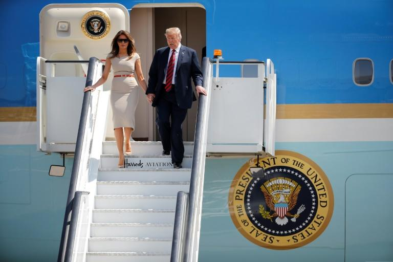 US President Donald Trump arrived in Britain with his wife Melania Trump