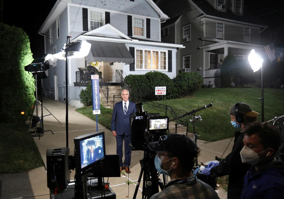 Sen. Bob Casey, D-Pa., speaks in support of Democratic presidential candidate Joe Biden, outside Biden's childhood home as part of the Democratic National Convention, in Scranton, Pa., Tuesday, Aug 18, 2020.