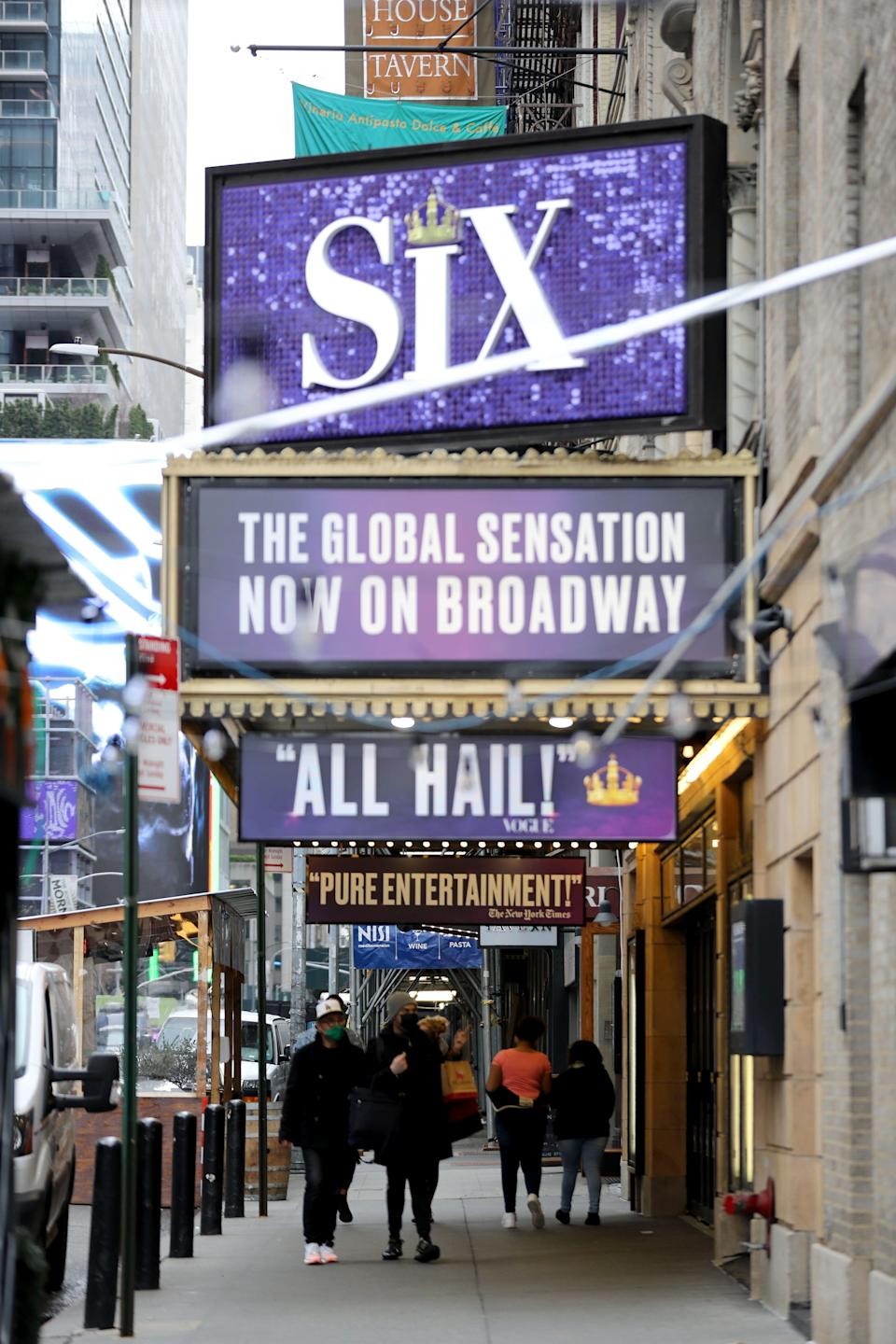 """The Brooks Atkinson Theatre in Manhattan, photographed April 12, 2021, was where the play """"Six"""" was to open before the COVID-19 pandemic. New York Gov. Andrew Cuomo ordered all theaters to close just hours before """"Six"""" opening night performance."""