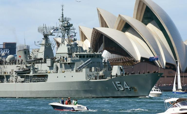 Australian warships and aircraft routinely patrol through the South China Sea, much of which is claimed by Beijing (AFP Photo/WILLIAM WEST)