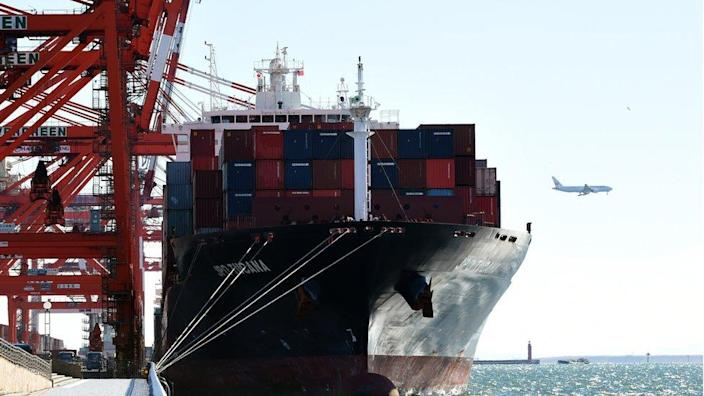 Ship in a Japanese port