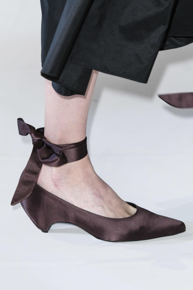 <p><i>Burgundy satin low heels from the SS18 Stella McCartney collection. (Photo: ImaxTree) </i></p>