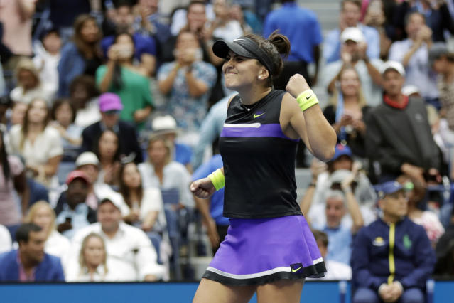 FILE - In this Sept. 7, 2019, file photo, Bianca Andreescu, of Canada, reacts after defeating Serena Williams in the women's singles final of the U.S. Open tennis championships in New York. New York Gov. Andrew Cuomo said Tuesday, June 16, 2020, that the U.S. Open tennis tournament will held starting in late August as part of the state's reopening from shutdowns caused by the coronavirus pandemic. (AP Photo/Adam Hunger, File)