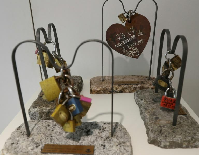 """Some of the """"love lock"""" displays that Paris will sell in a charity auction this month"""