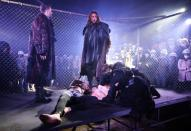 """Actors of Ivano-Frankivsk drama theatre perform during the """"Romeo and Juliet"""" play staged in the industrial halls of an old Soviet factory in Ivano-Frankivsk"""