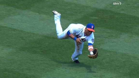 Twice as nice! Juan Lagares makes an impressive catch, then makes it again
