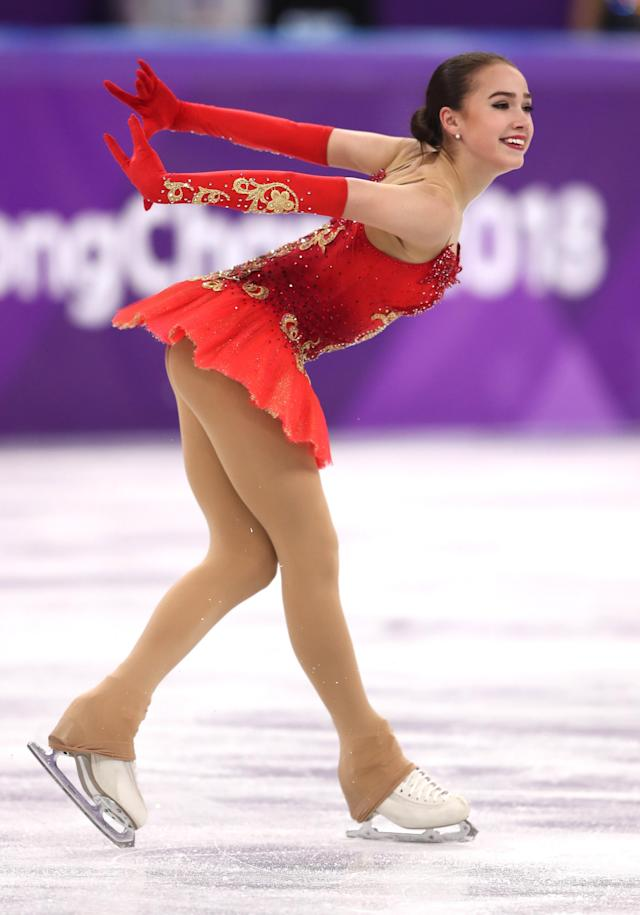 <p>Alina Zagitova of Olympic Athlete from Russia competes during the Ladies Single Skating Free Skating on day fourteen of the PyeongChang 2018 Winter Olympic Games at Gangneung Ice Arena on February 23, 2018 in Gangneung, South Korea. (Photo by Richard Heathcote/Getty Images) </p>