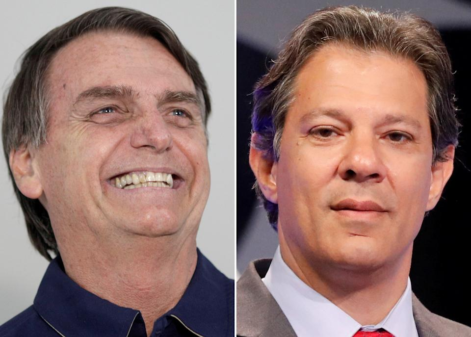 A combination of file photos shows Presidential candidates Jair Bolsonaro during a news conference at a campaign office in Rio de Janeiro, Brazil October 25, 2018 and Fernando Haddad during a televised debate in Sao Paulo, Brazil September 26, 2018. REUTERS/Ricardo Moraes/Nacho Doce/File Photos