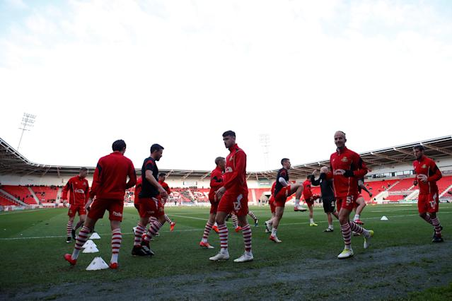 Soccer Football - FA Cup Second Round - Doncaster Rovers vs Scunthorpe United - Keepmoat Stadium, Doncaster, Britain - December 3, 2017 General view of Doncaster Rovers' players warming up ahead of the match Action Images/Craig Brough
